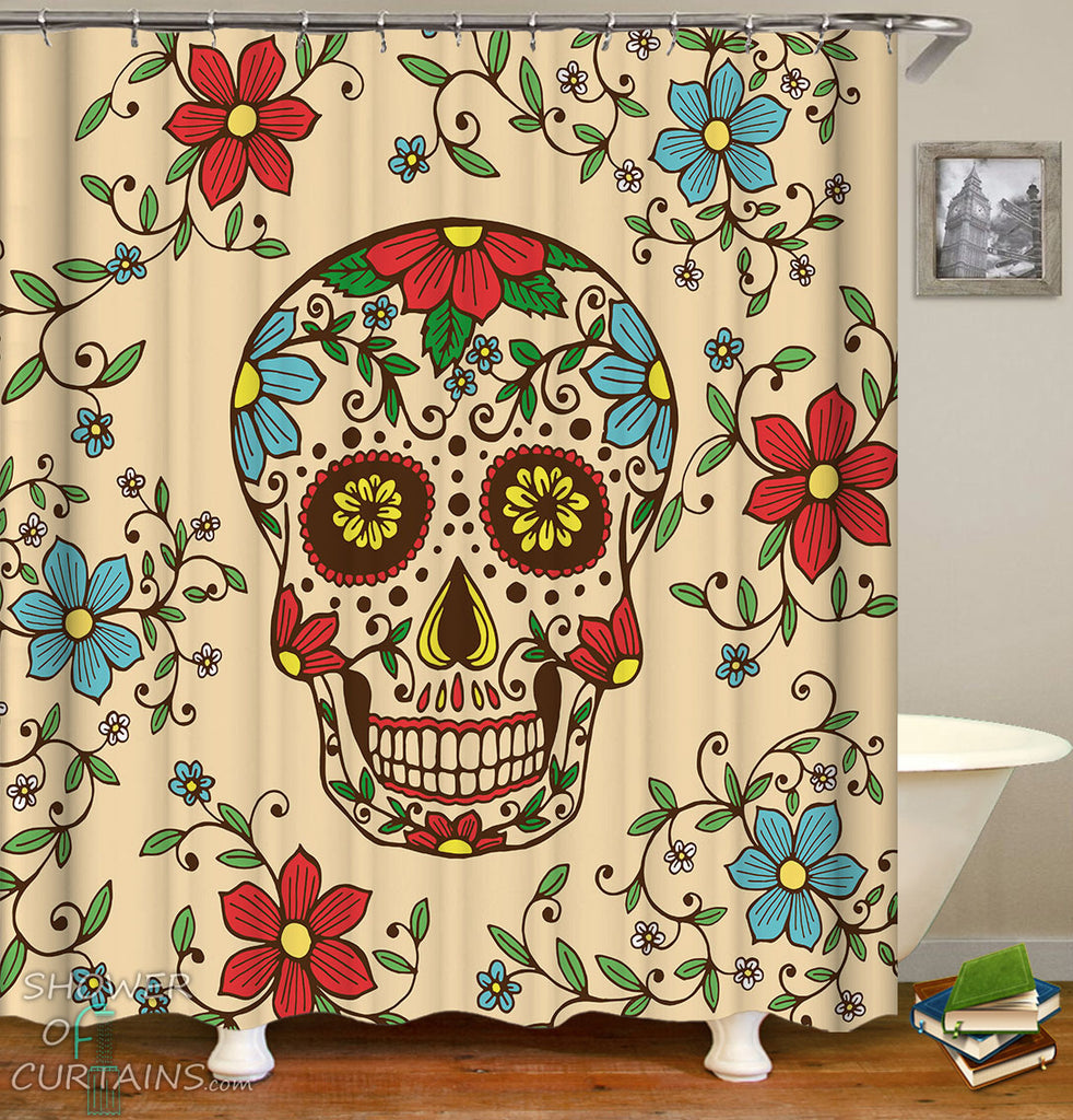 Sugar Skull Shower Curtain of Red And Blue Flowers Skull
