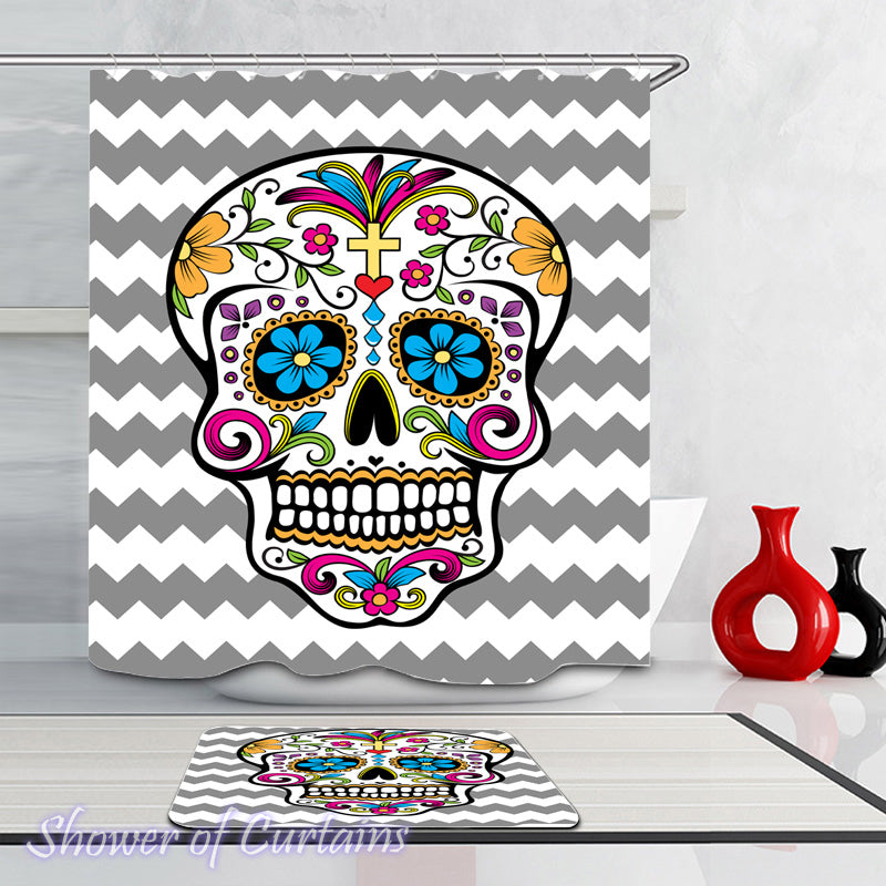 Sugar Skull Shower Curtain of Sugar Skull Grey And White Chevron
