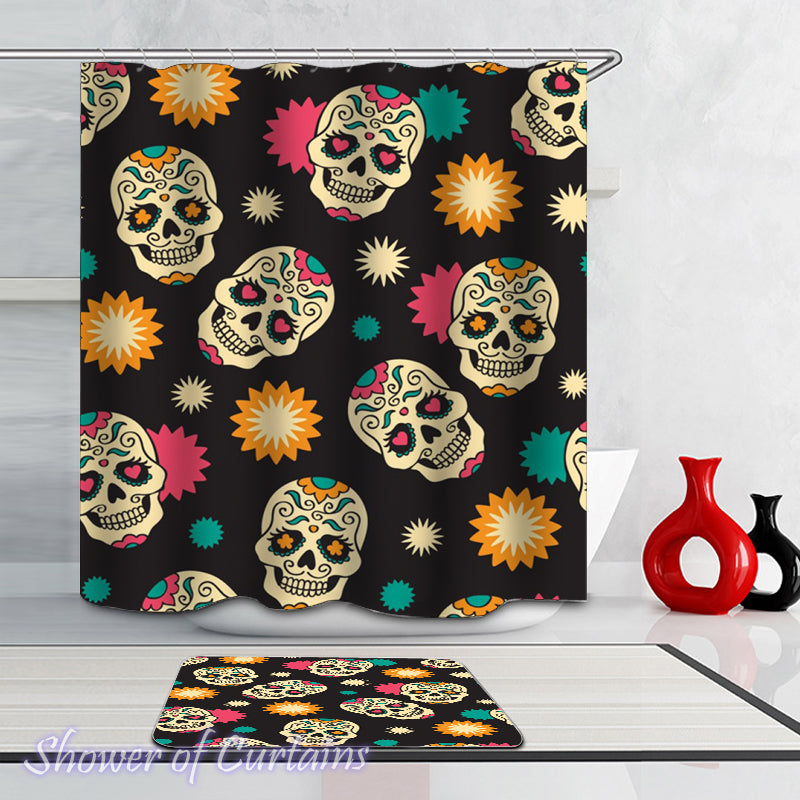 Sugar Skull Shower Curtain of Sugar Skulls Pattern