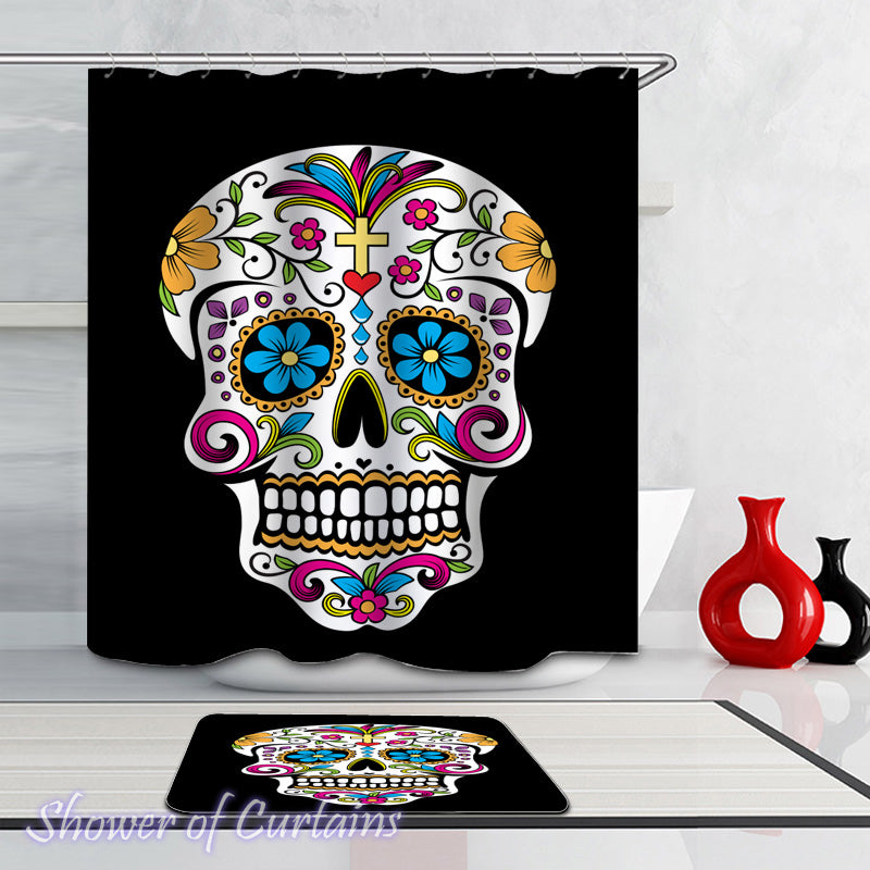 Sugar Skull Shower Curtains of Colorful Sugar Skull Over The Black