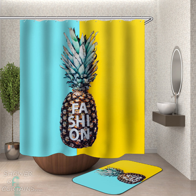 Summer Bathroom Decor - Fashion Pineapple Shower Curtain and Bath Mat