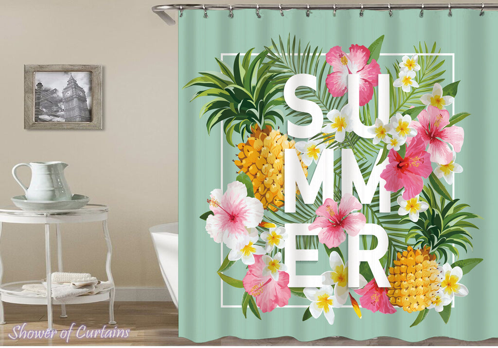 Summer Flowers And Pineapples Shower curtain