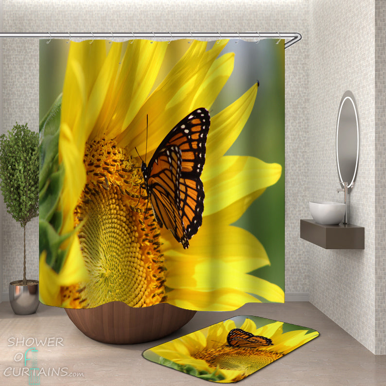 Sunflower And Butterfly Shower Curtain - Yellow Shower Curtain