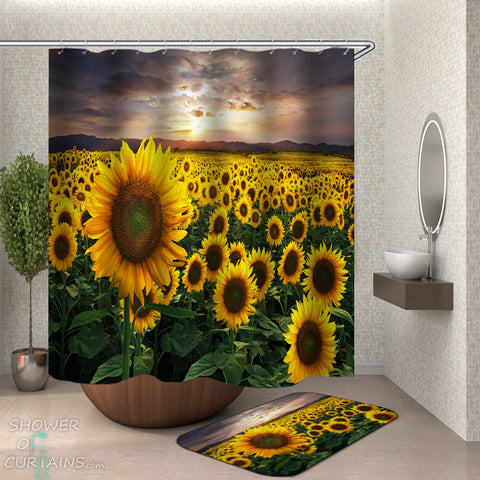 Sunflower Bathroom Decor - Fresh Sunflower Field Shower Curtain and Bath Mat