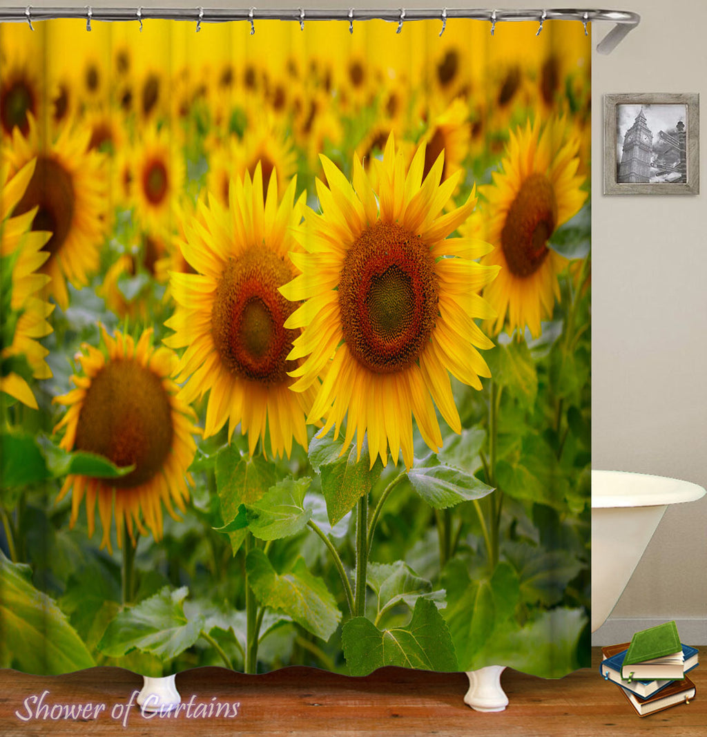 Sunflower Shower Curtain - Green And Yellow Delight