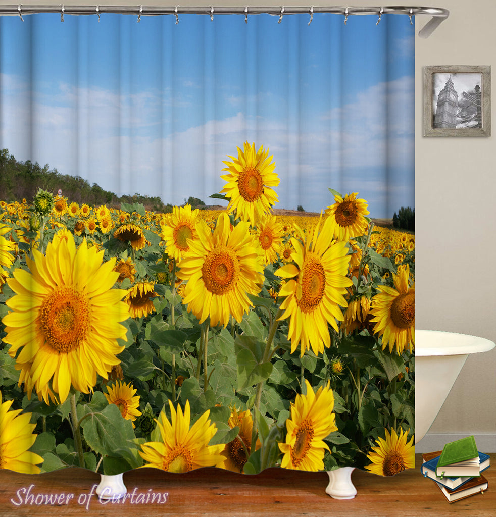 Sunflower Shower Curtain - Sunflowers Field Under Blue Sky