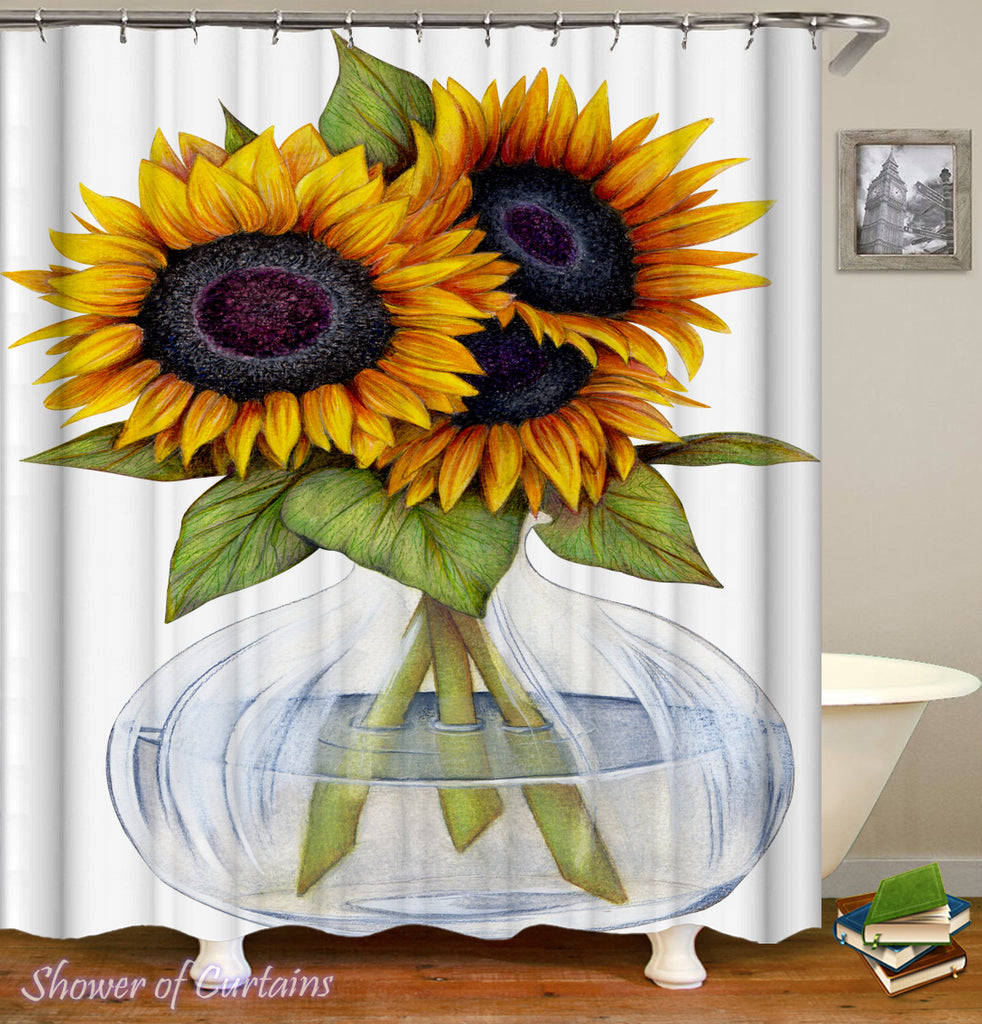 Sunflower Shower Curtain - Sunflowers Vase