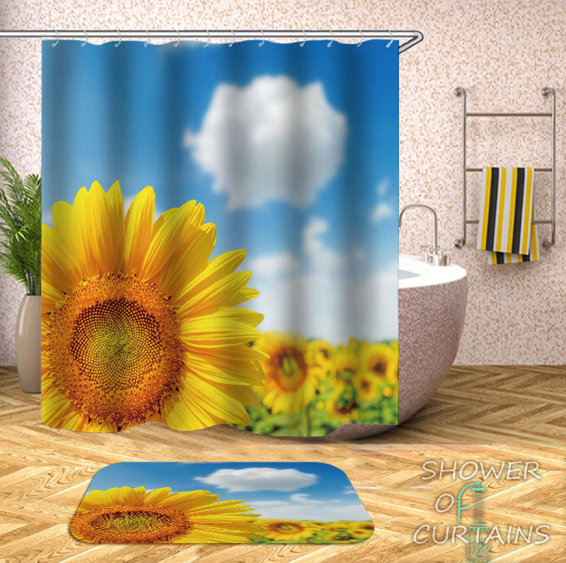Sunflower Shower Curtain of Bright Day At The Sunflower Field