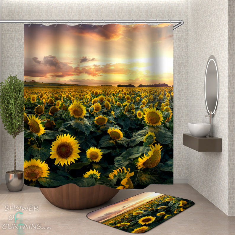 Sunflower Shower Curtain of Sunflower Field