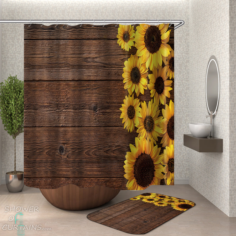 Sunflower Shower Curtain of Sunflowers On A Wooden Deck