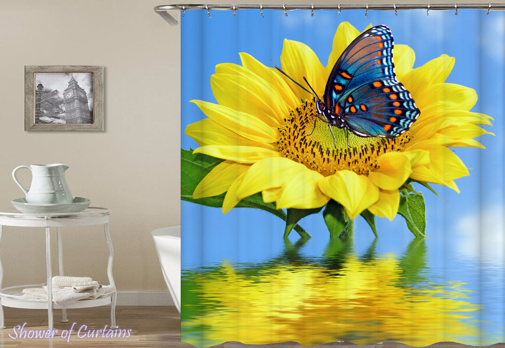 Butterfly ft Sunflower shower curtain theme