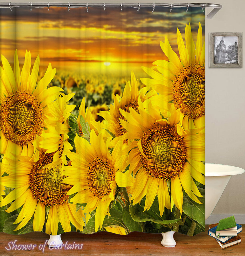 Sunflower shower curtain - Sunset Over The Sunflower Field