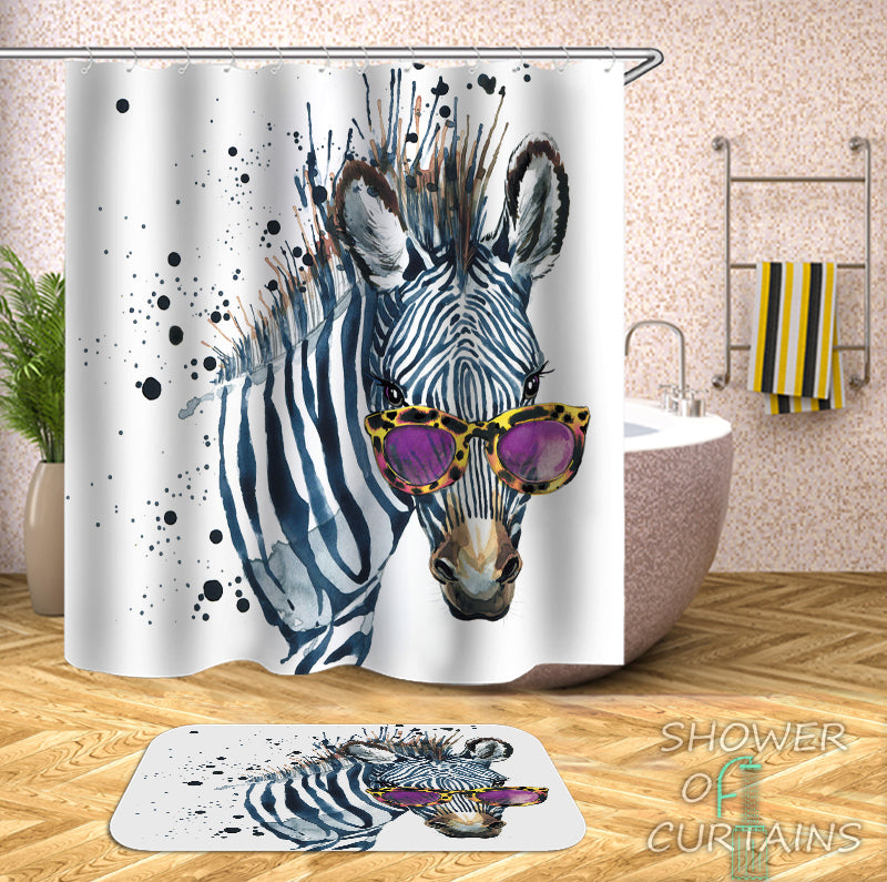 Sunglasses Chic Zebra Shower Curtain