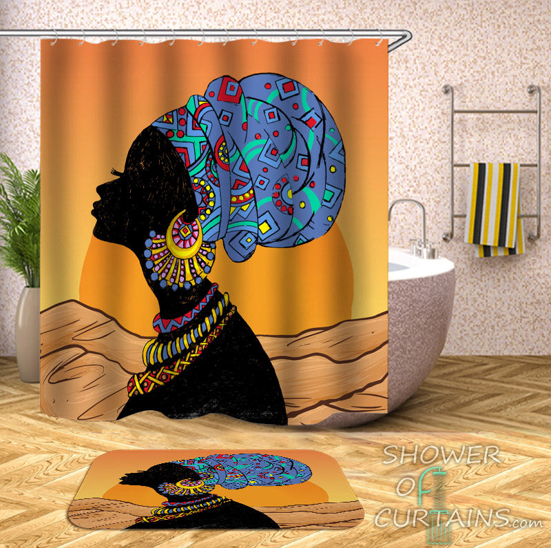 Sunny African Lady Shower Curtain