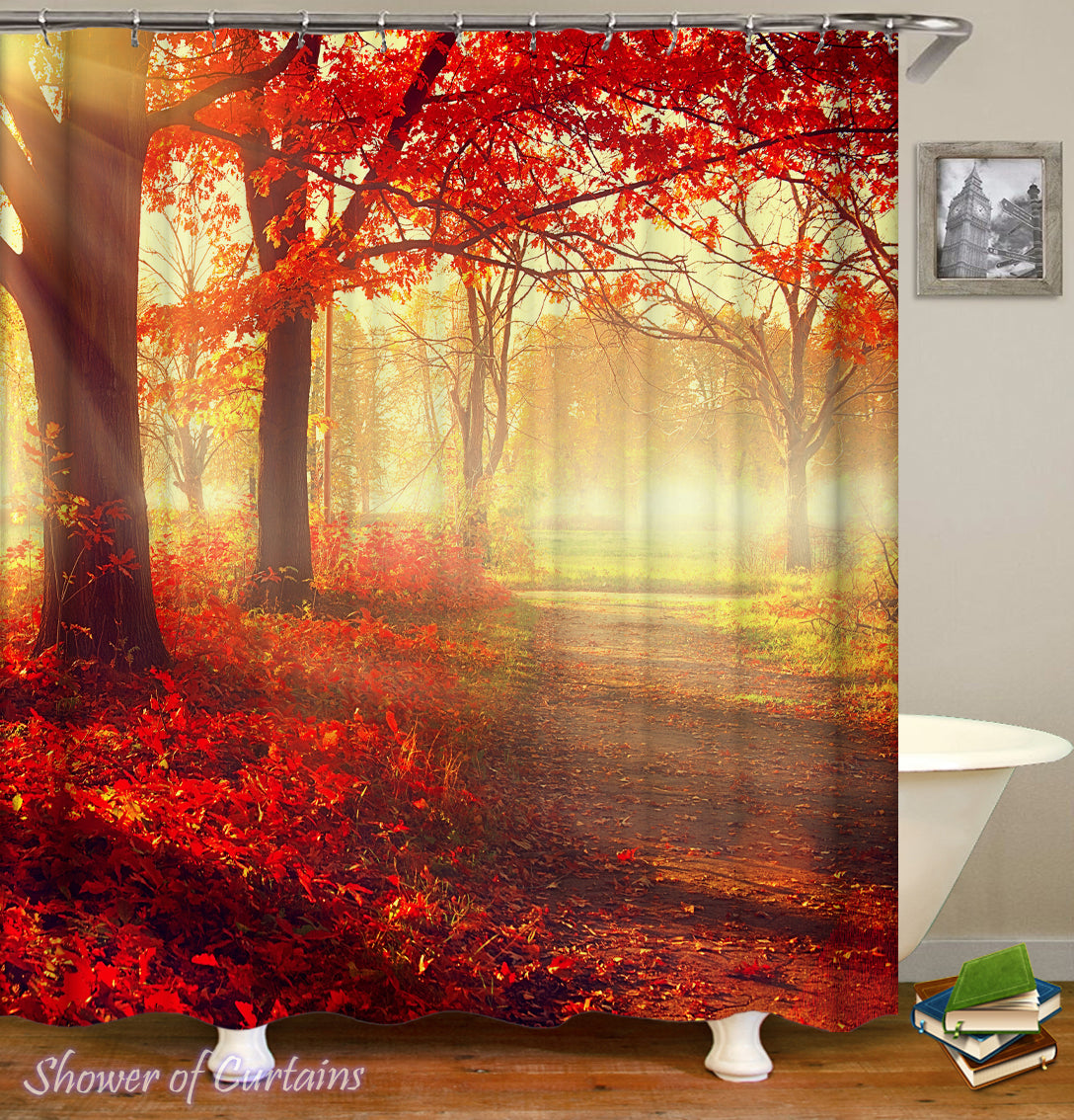Gentil Sunset In The Autumn Shower Curtain