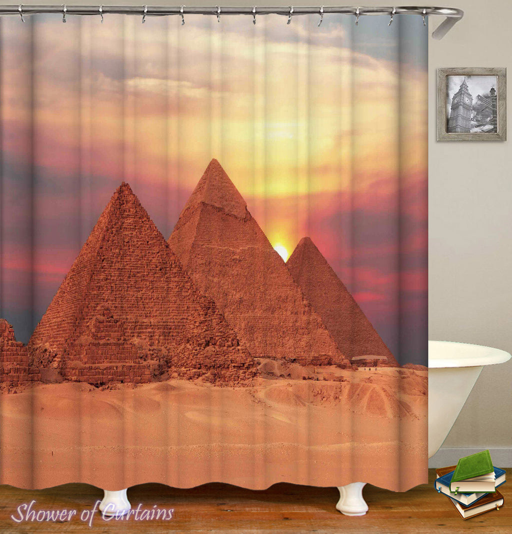 Sunset Pyramids Shower Curtain