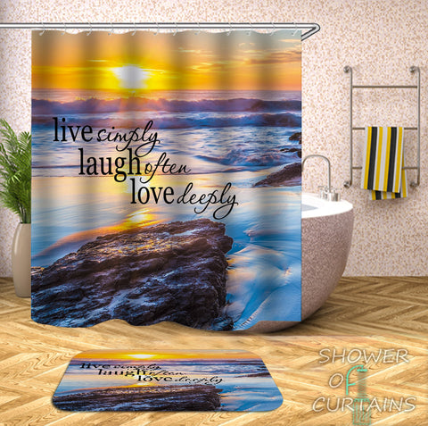 Sunset Shower Curtain - Sunset Quote - Beach Shower Curtain