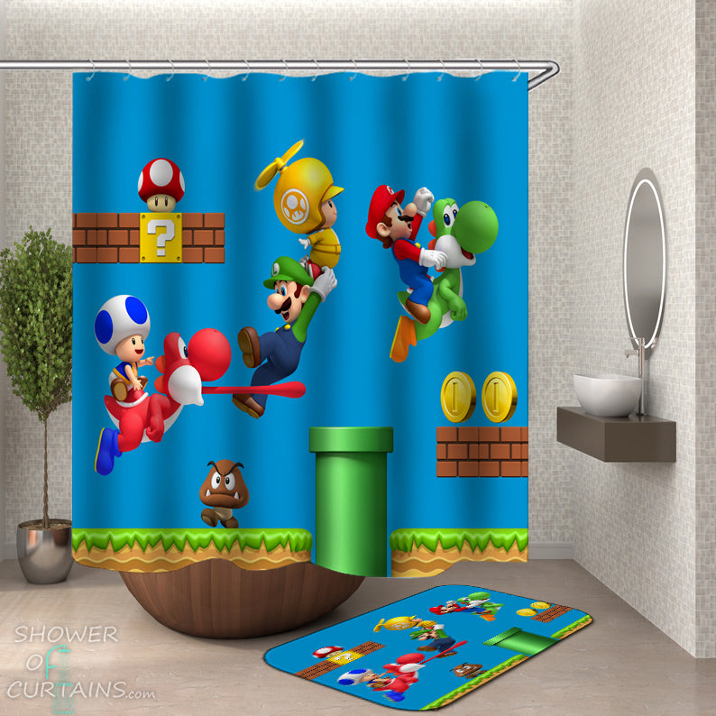 Super Mario Shower Curtain - Kids Bathroom Decor