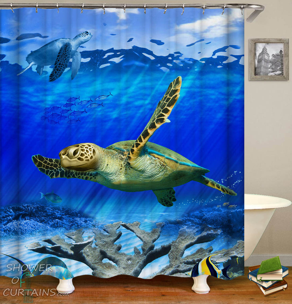 Swimming Turtles Shower Curtain