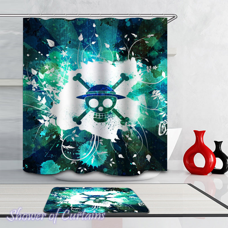 Teal Skull Shower Curtain - Turquoise And Teal Danger Skull