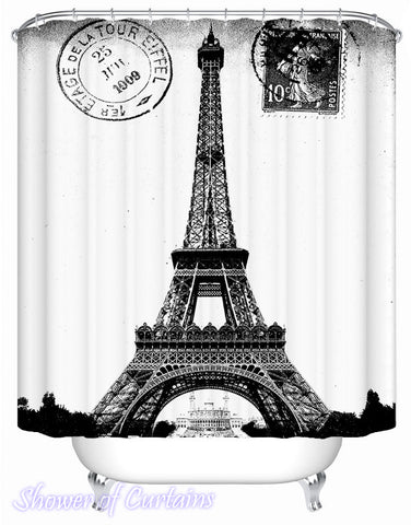 Temed shower curtains - Eiffel Tower Stamp