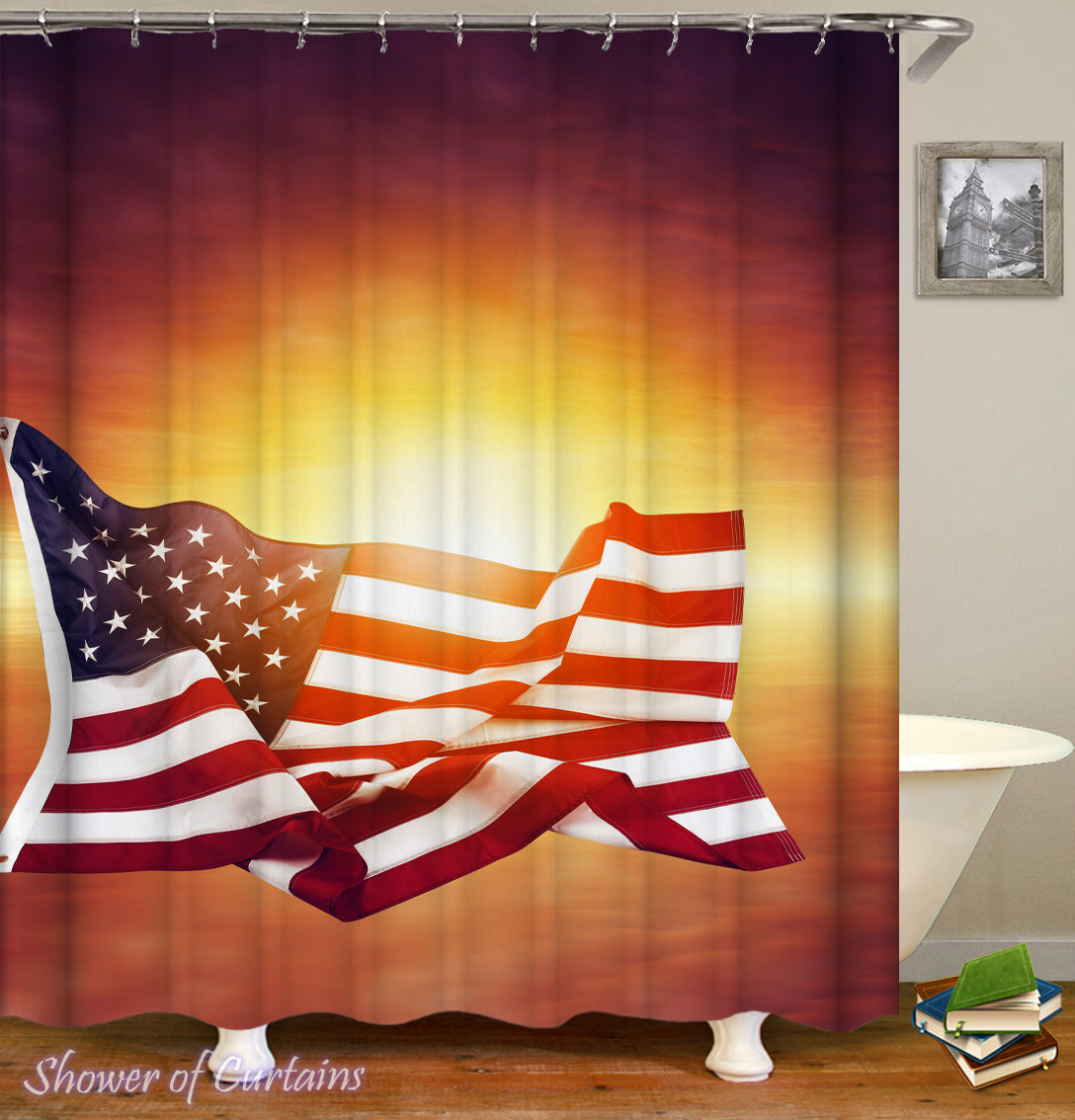 The American Flag Over Sunset Shower Curtain