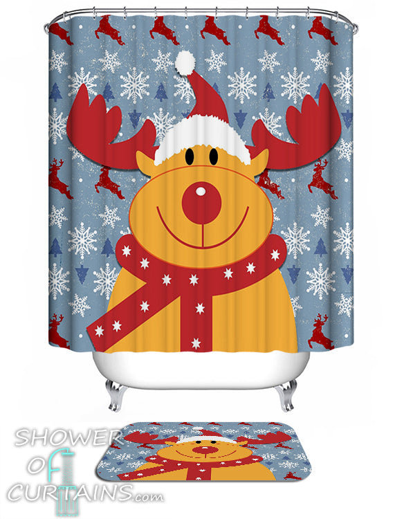 The Cutest Reindeer Shower Curtain - Christmas Them Shower Curtains