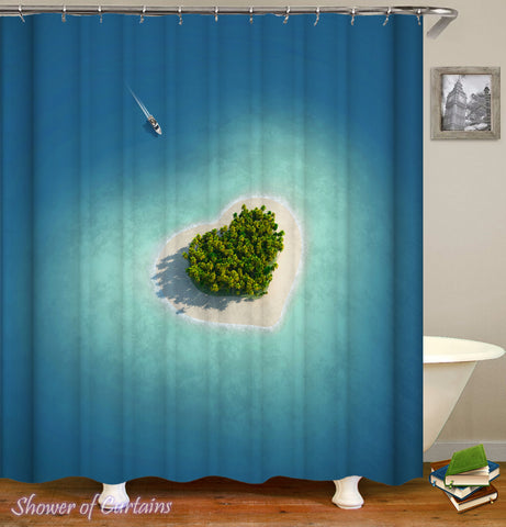 The Heart Shape Island Shower Curtain Print