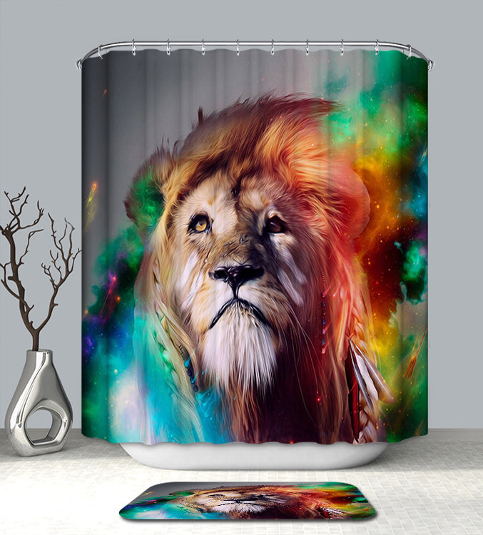 The Lion Chief - lion shower curtain