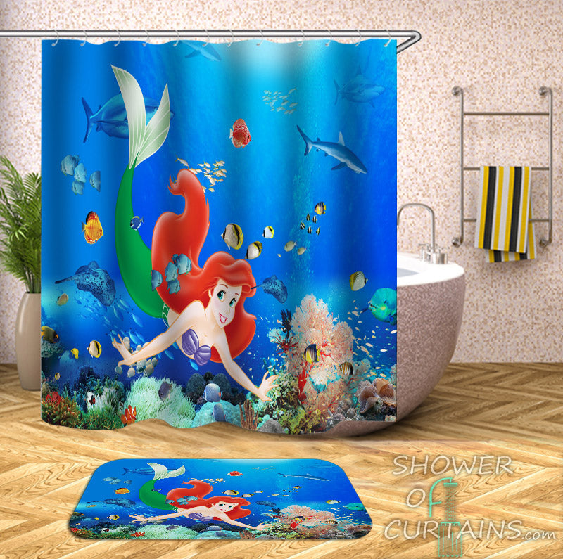The Little Mermaid Ariel Shower Curtain and Bath Mat