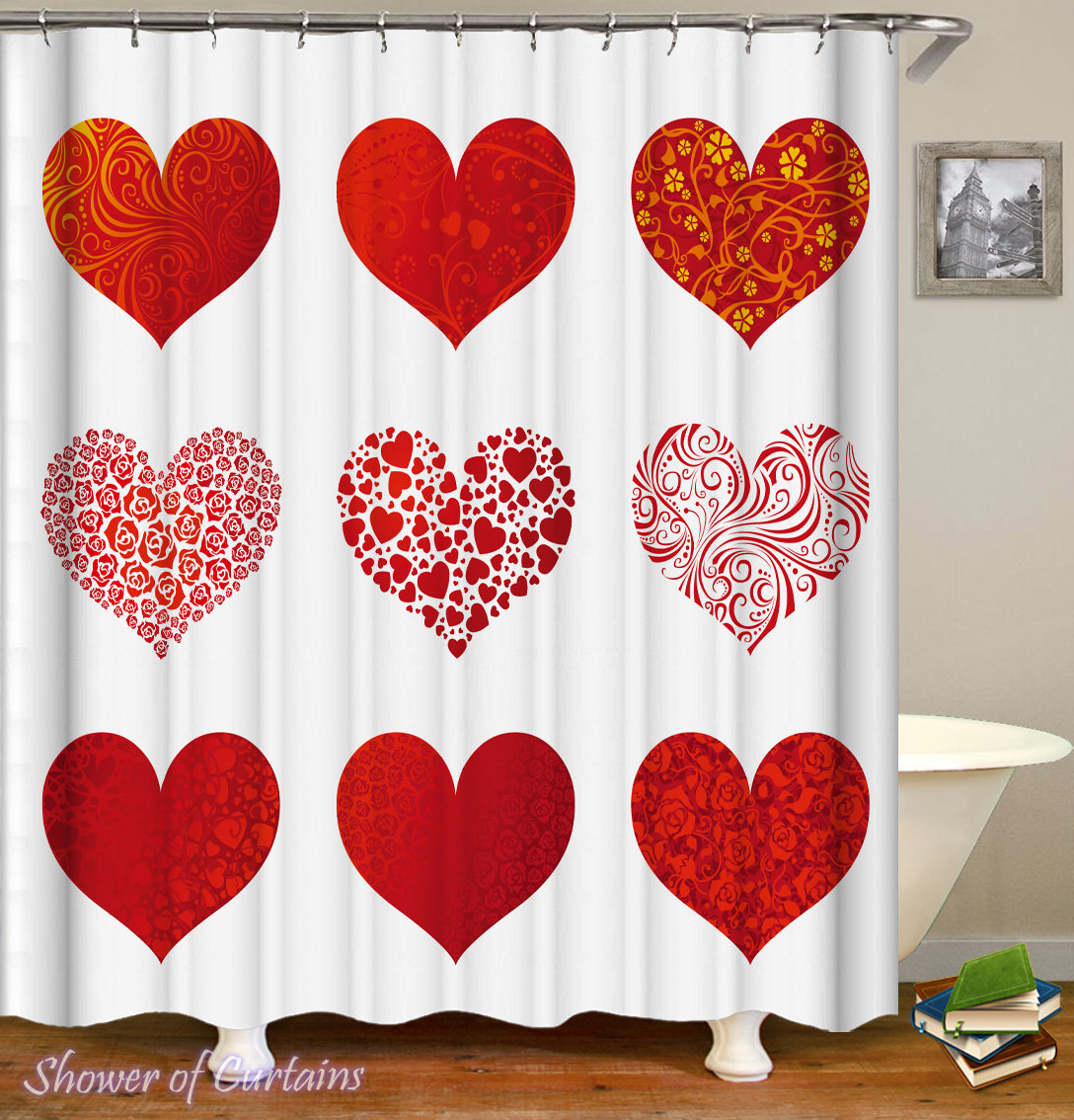 The Nine Hearts Shower Curtain