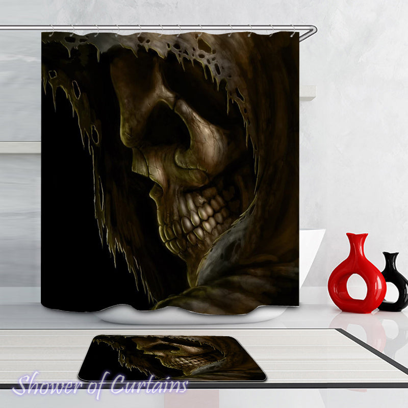 The Soul Taker Skull Shower Curtains and Bath Mat