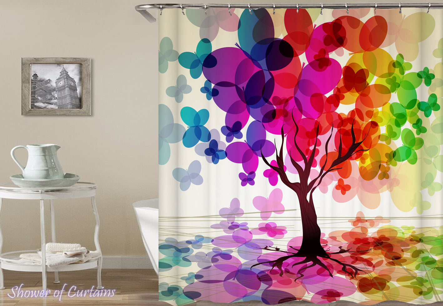 the tree of colors is one of our colorful shower curtains - Colorful Shower Curtains