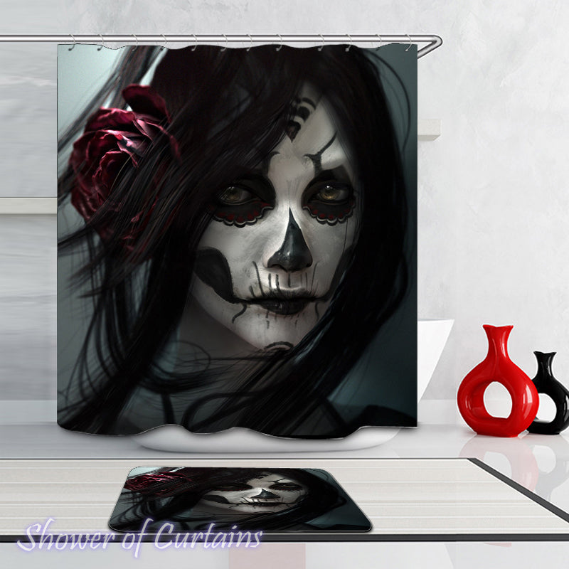 Themed shower curtains - Powerful Skull Make Up Portrait