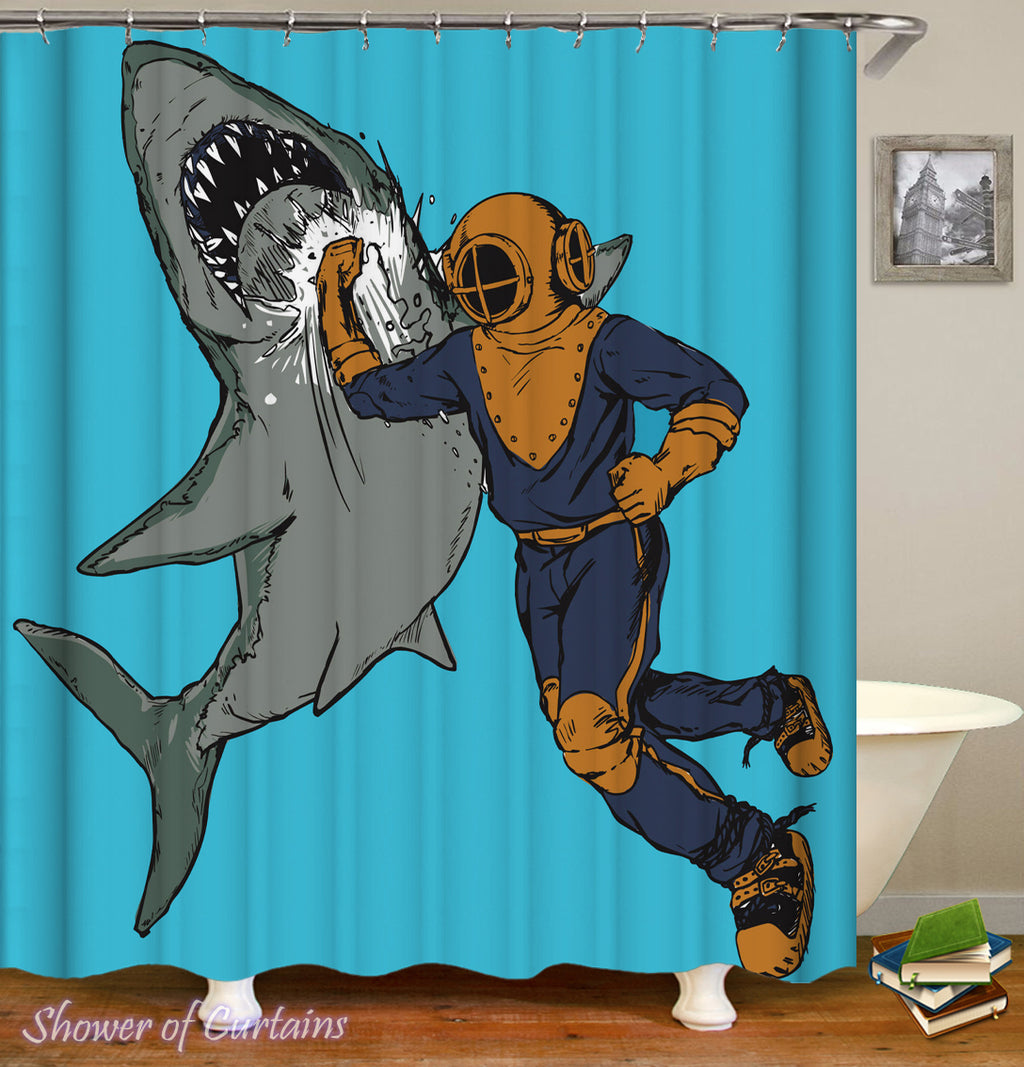Themed shower curtains of Scuba Diver Hitting A Shark