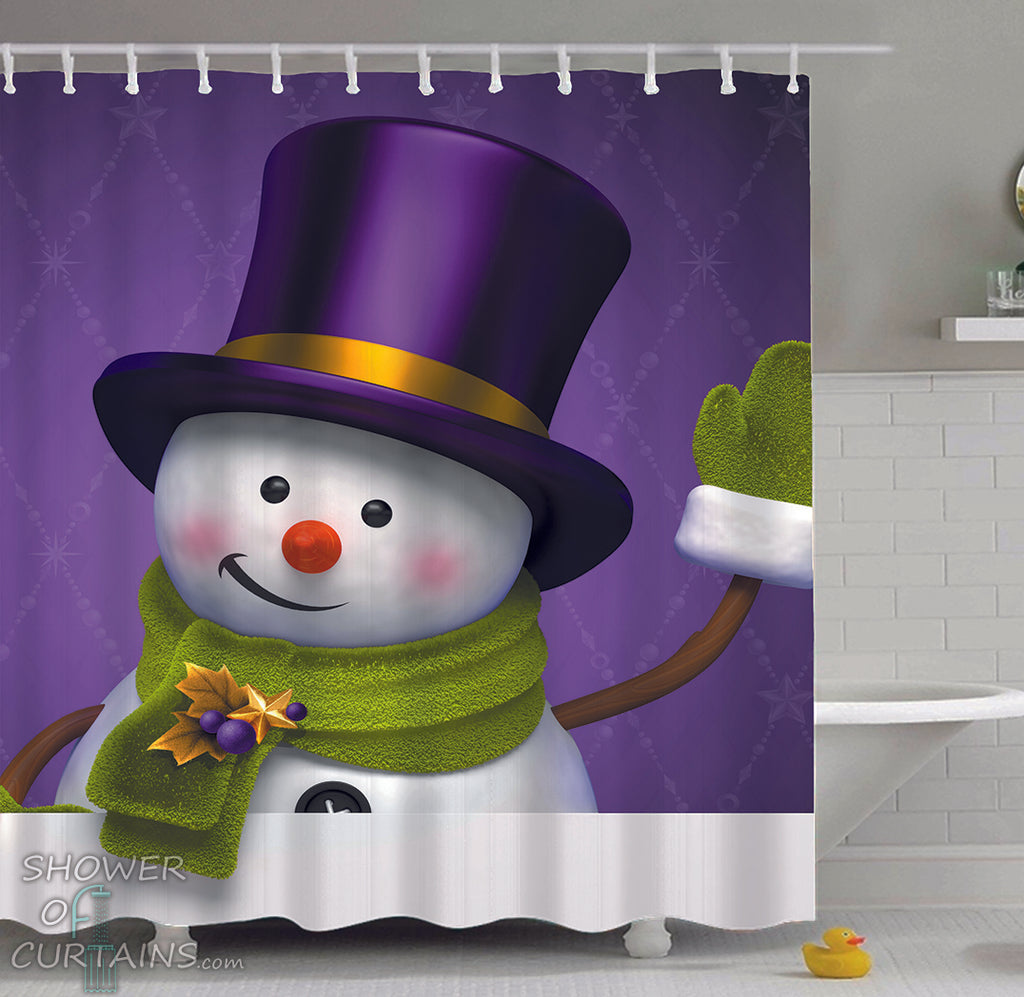 Top Hat Snowman Shower Curtain
