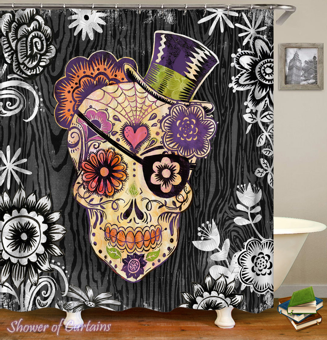 Top Hat Sugar Skull Shower Curtain
