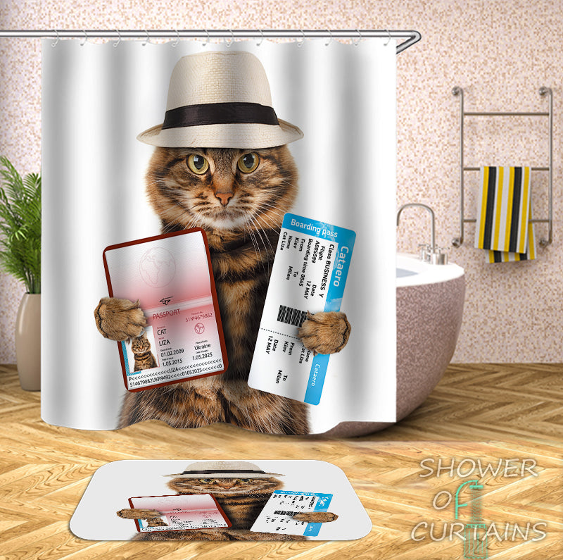 Tourist Cat Shower Curtain