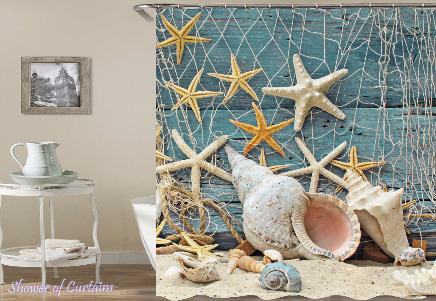 Trapped Starfish Shower Curtain