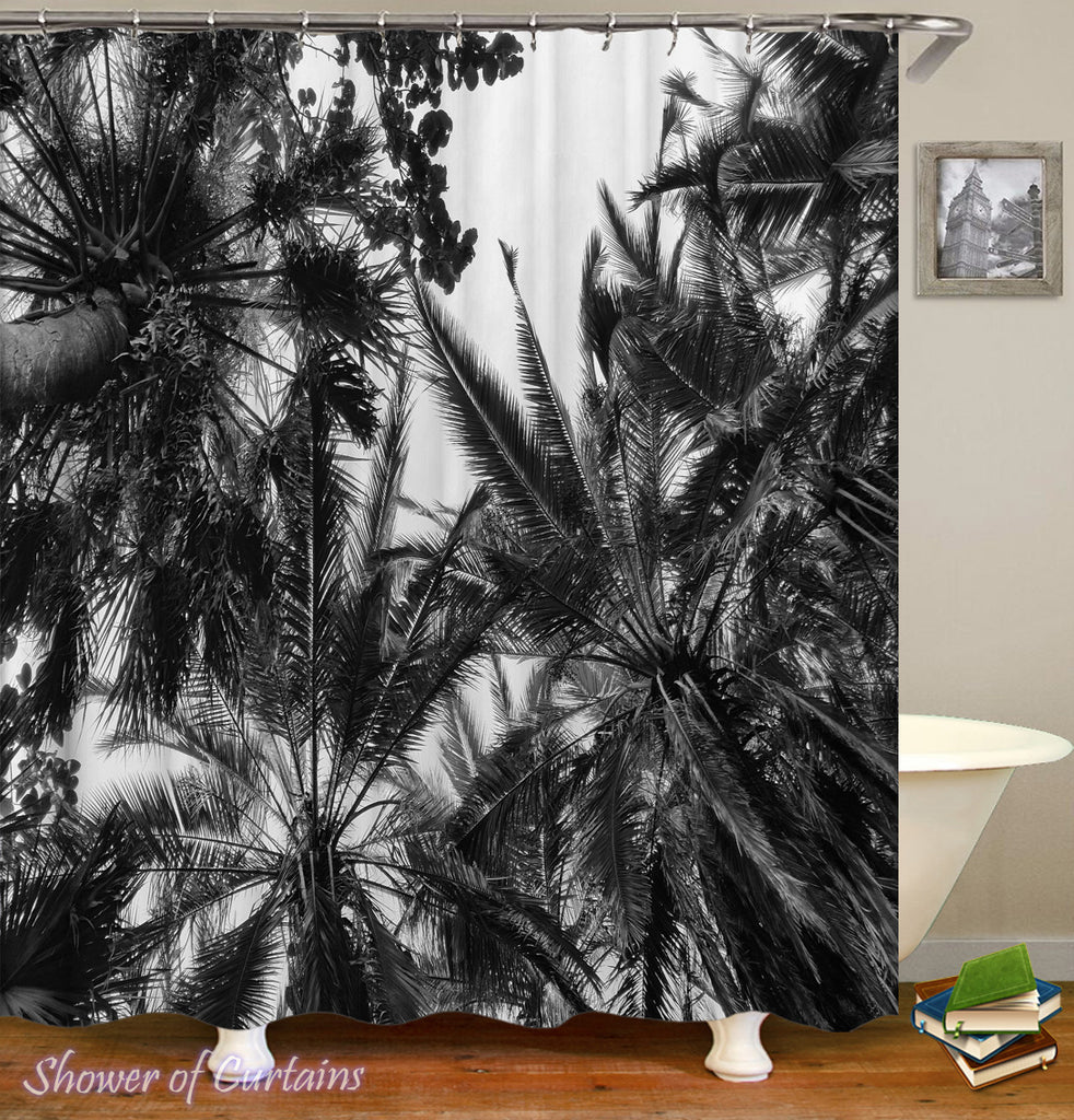 Tree shower curtain  - Black White Palm Trees