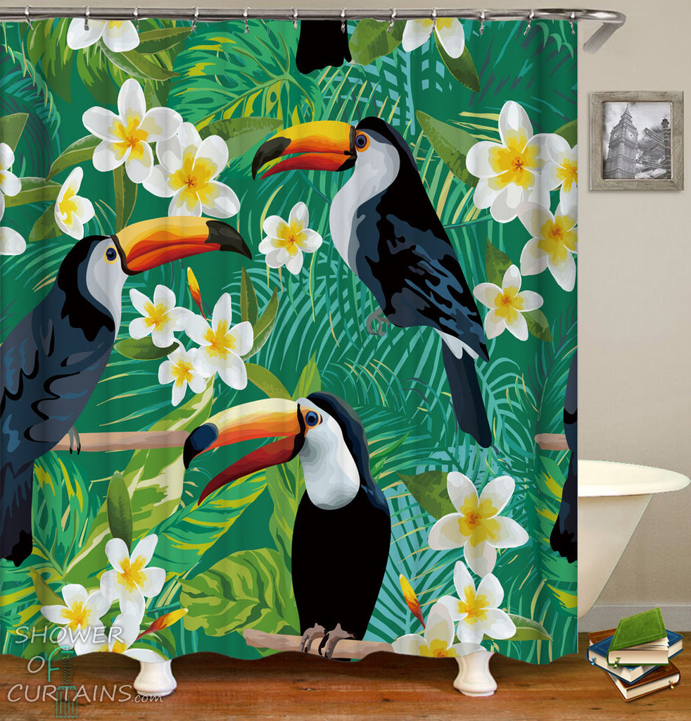 Tropcial Shower Curtains - Toucans Fit Plumerias Over The Green