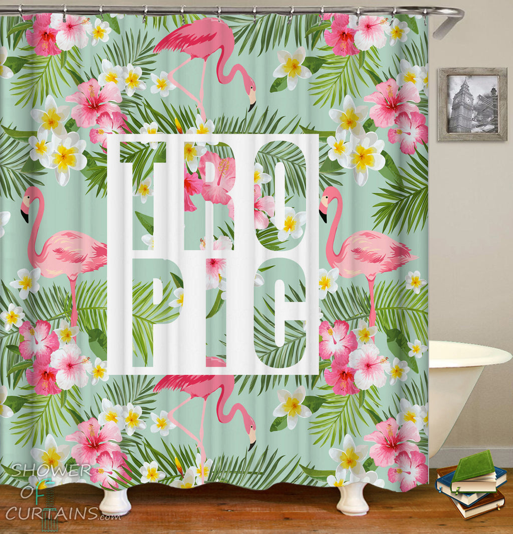 Tropic Flamingo Shower Curtain