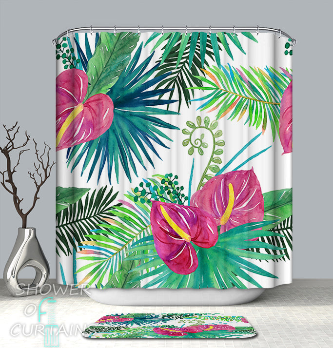 Tropica Themed Bathroom Decor - Multi Colored Tropical Mix Shower Curtains