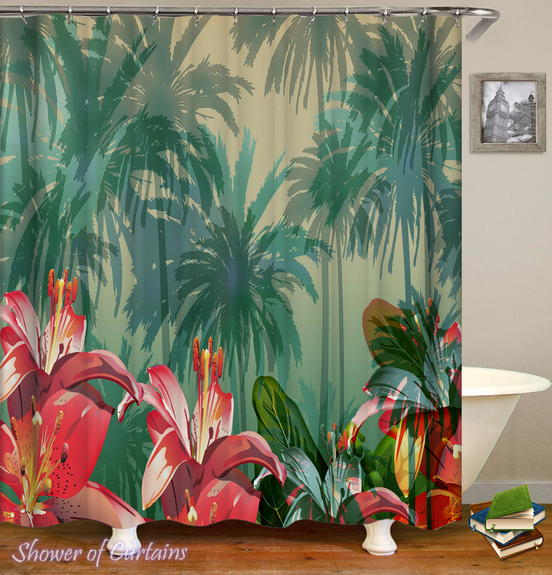 Tropical Atmosphere   Tropical Flowers Shower Curtain