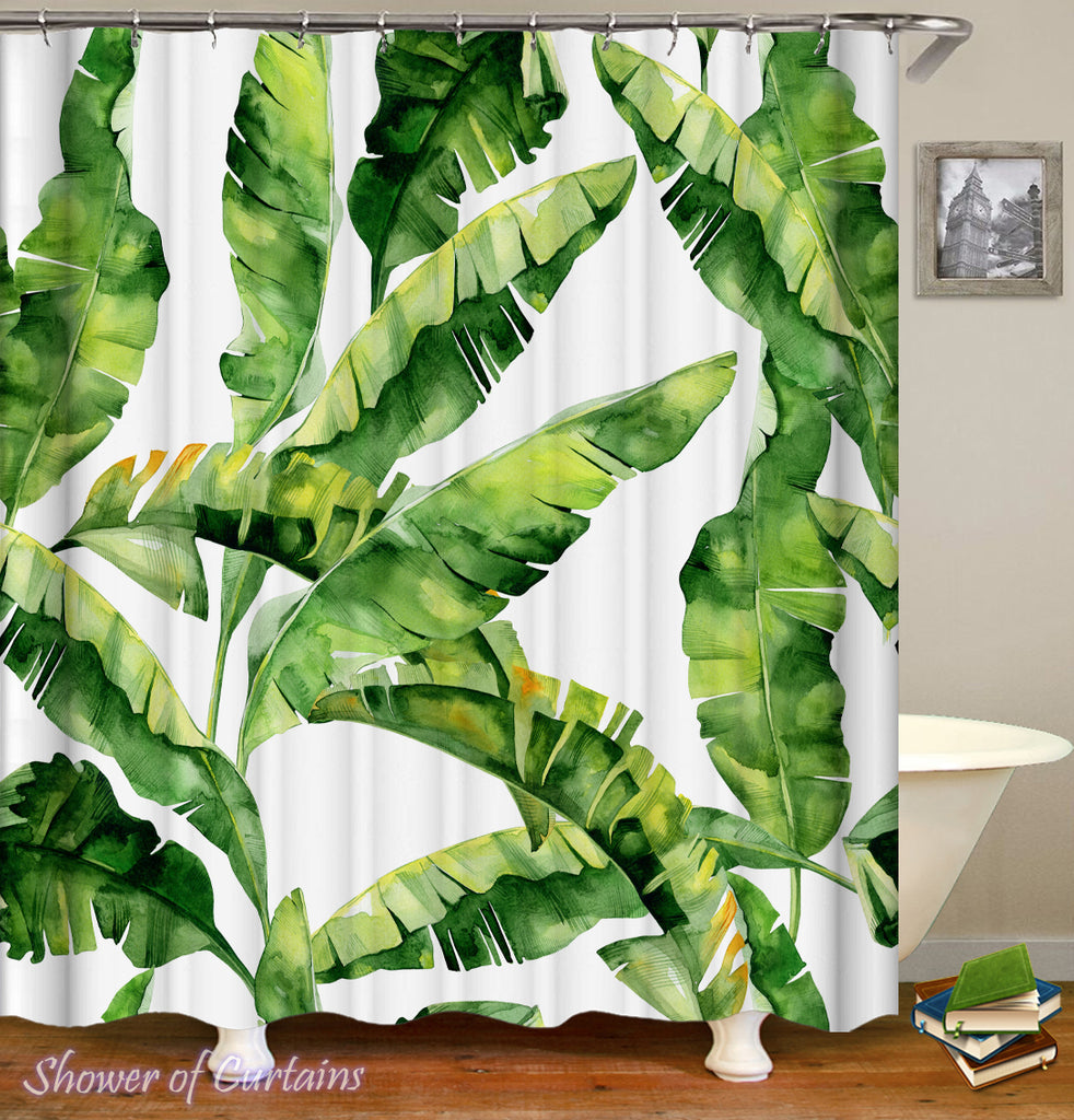 Tropical Banana Leaves Shower curtian