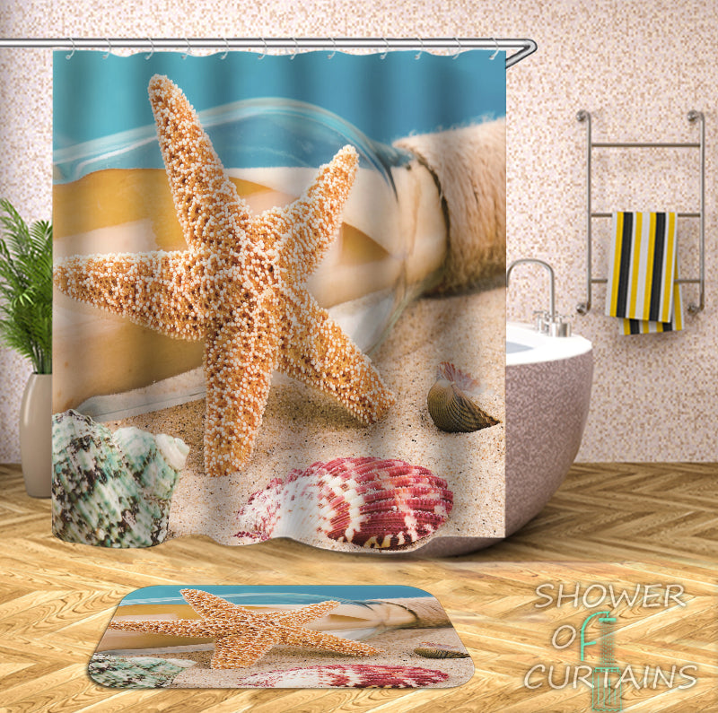 Tropical Beach Themed - Message Hidden By Starfish Shower Curtain
