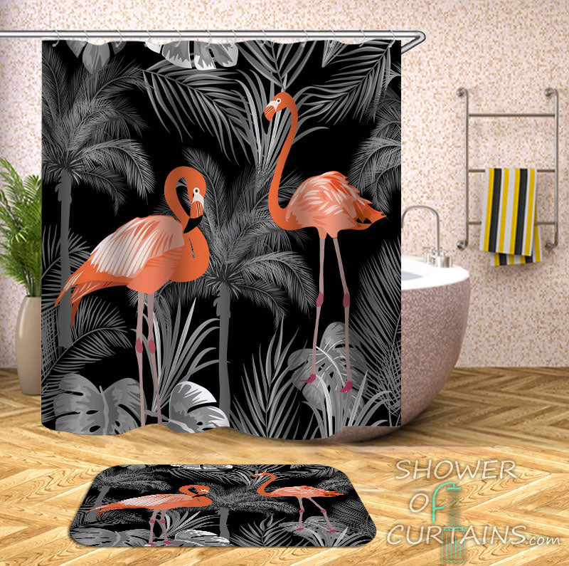Tropical Flamingo Shower Curtain - Dim Pink Flamingos