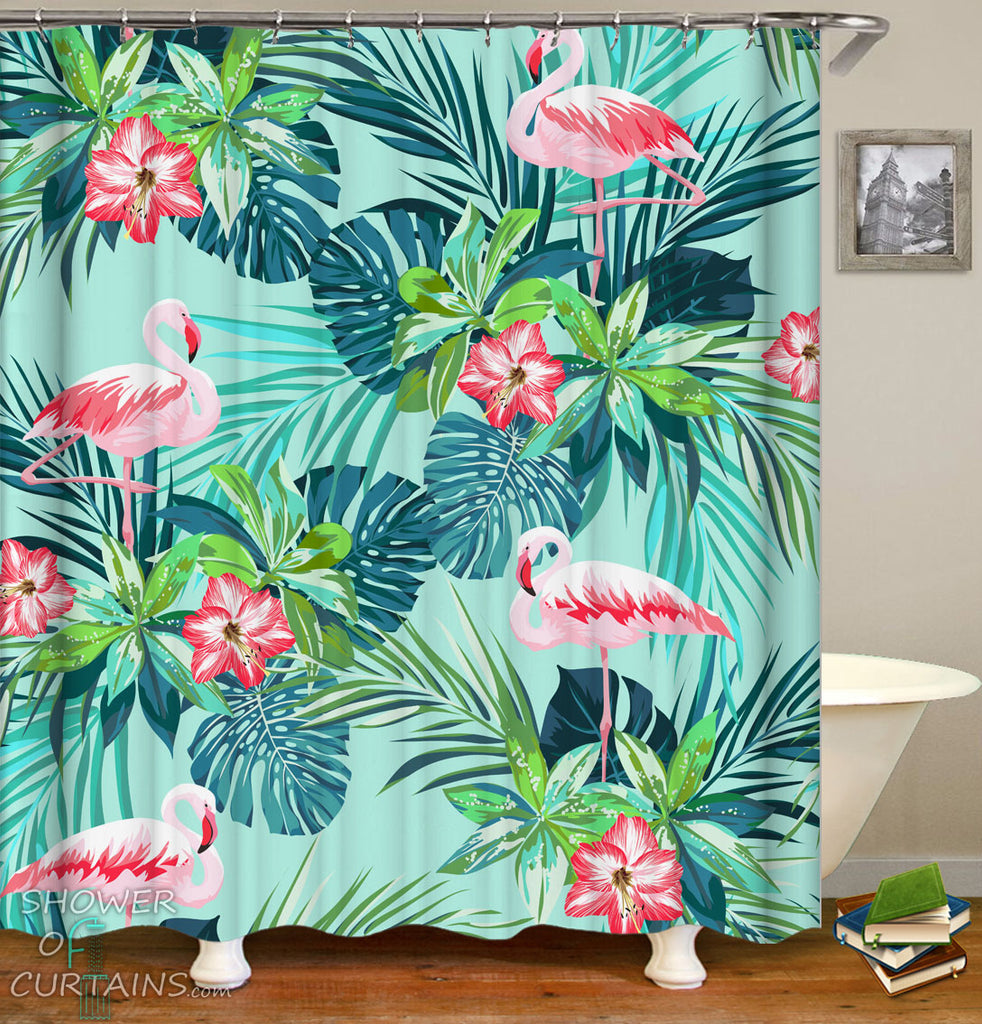 Tropical Flamingo Shower Curtains - Flamingo And Tropical Green