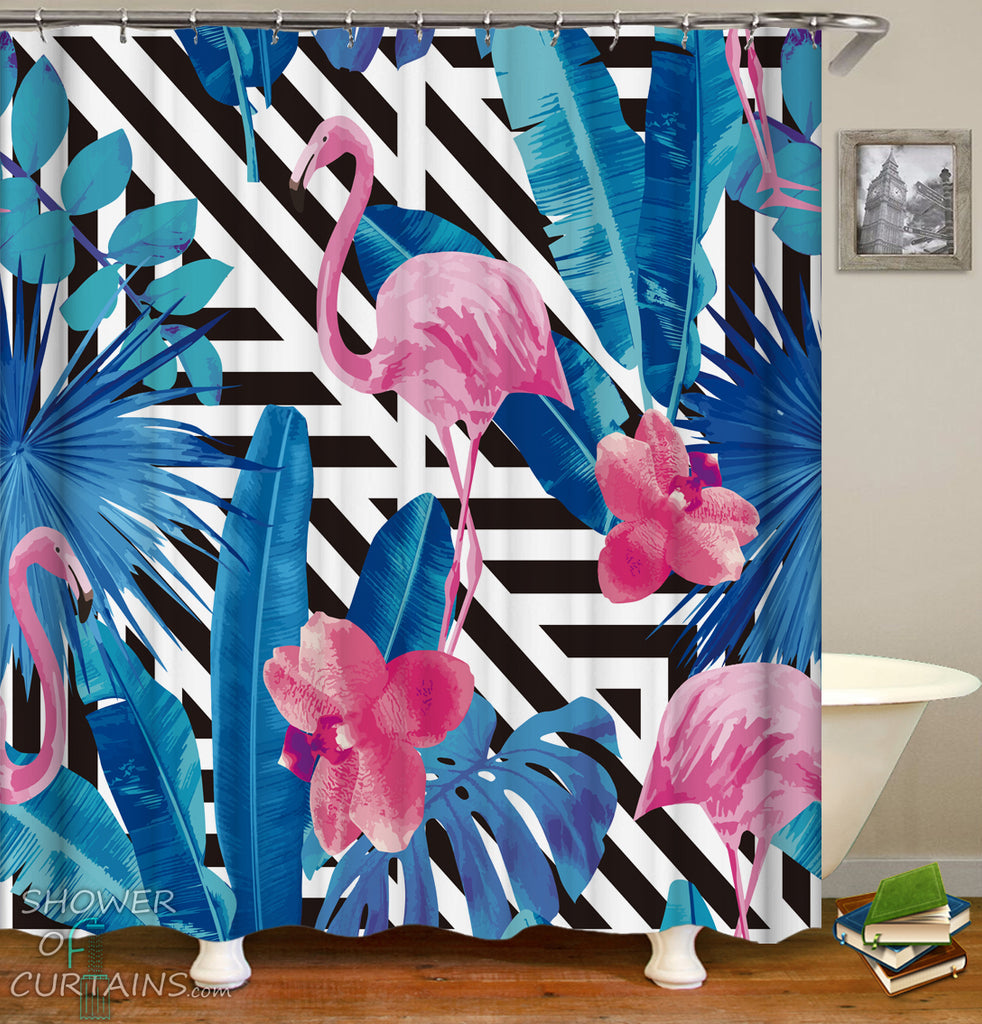 Tropical Flamingo Shower Curtains - Flamingos And Leaves
