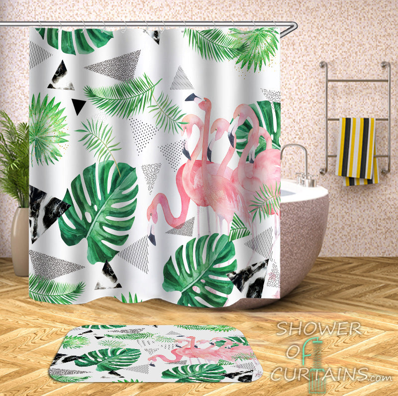 Tropical Flamingo Shower Curtains of Flamingo And Tropical Leaves